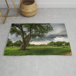 Big Tree - Tall Cottonwood and Passing Storm in Texas Rug