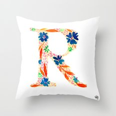 monograms - R Throw Pillow