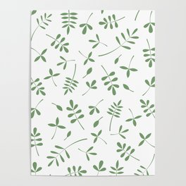 Green Leaves Design on White Poster