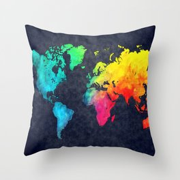 World map watercolor 6 Throw Pillow