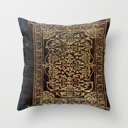 Gilded Leather Tome Throw Pillow