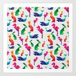 Rainbow Tangram Geomtric Animals Art Print