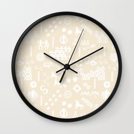 Peoples Story - White on Sand Wall Clock