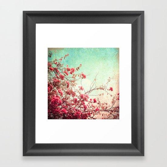 Pink Flowers on a Textured Blue Sky (Vintage Flower Photography) Framed Art Print