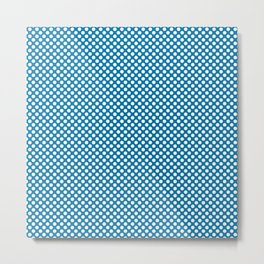 Methyl Blue and White Polka Dots Metal Print