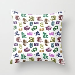Vintage Multicolor Cameras Throw Pillow