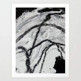 FLUIDART BLACK AND WHITE Art Print
