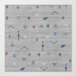 Cactus Silk Pattern in Grey Canvas Print