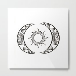 Sun and Moon Metal Print
