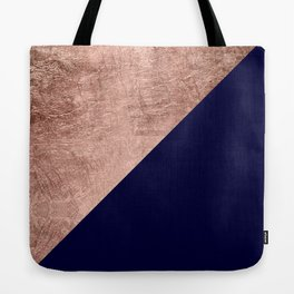 Minimalist rose gold navy blue color block geometric Tote Bag