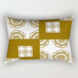 Amber and White Floral Mandala Patch-Work Textile Rectangular Pillow