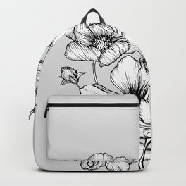 Flowers Black and White Backpack