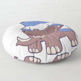 Yeti riding mammoth like a horse Floor Pillow