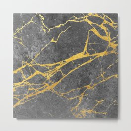 Matte black marble with gold Metal Print