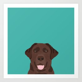 Chocolate Lab peeking dog head labrador retriever must have funny dog breed gifts Art Print