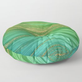 Green Mermaid Glamour Marble With Gold Veins Floor Pillow