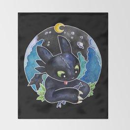 Baby Toothless Night Fury Dragon Watercolor black bg Throw Blanket