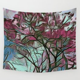 PINK TREE PAINTING Wall Tapestry