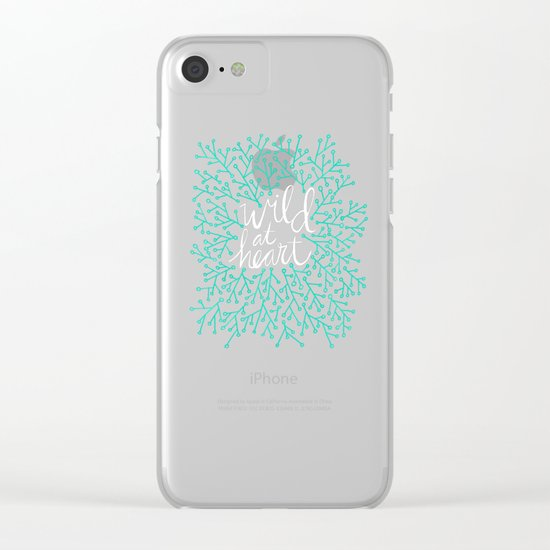 Wild at Heart – Turquoise & Gold Clear iPhone Case