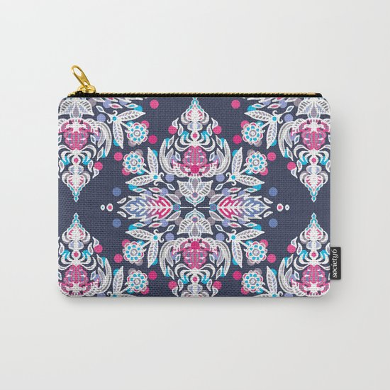 Pastel Folk Art Pattern in soft navy, pink, mauve & white Carry-All Pouch