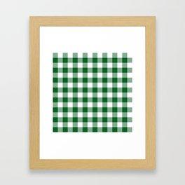 Hunter Green Checker Gingham Plaid Framed Art Print
