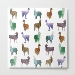 Llamas Pattern Metal Print