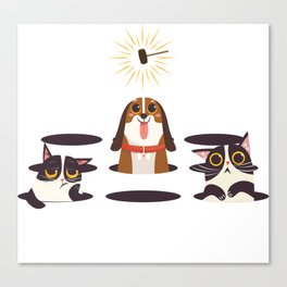 Cute Cats Dogs on Sunny Day Canvas Print