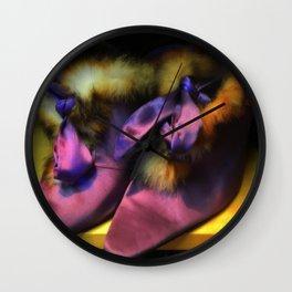 Purple Vintage Shoes with Fur | Fashion Wall Clock
