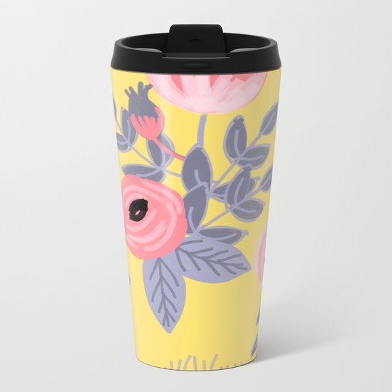 Yellow Floral Pattern Metal Travel Mug