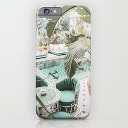 Travel Photography Art Print | Tropical Plant Leaves In Marrakech Photo | Green Pool Interior Design iPhone Case
