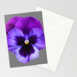 GREY MODERN ART SINGLE PURPLE PANSY Stationery Cards