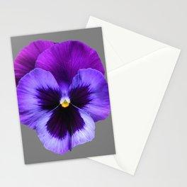 GREY MODERN ART SINGLE PURPLE PANSY Stationery Cards