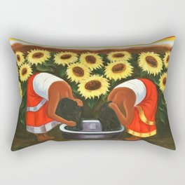 Two women in sunflower fields by Diego Rivera Rectangular Pillow