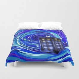 Blue Phone Box with Swirls Duvet Cover
