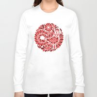 folk Long Sleeve T-shirts featuring Folk Rooster by slovensky