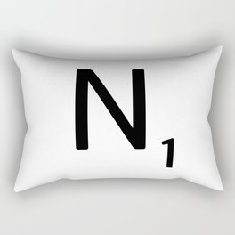 Letter N - Custom Scrabble Letter Tile Art - Scrabble N Initial Rectangular Pillow