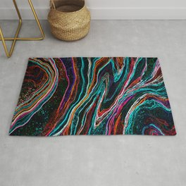 Electric fluids, abstract digital painting Rug