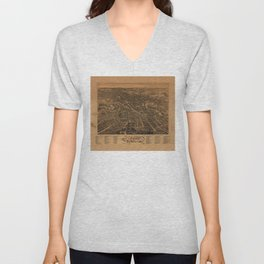 Aerial View of Dover, New Hampshire (1888) Unisex V-Neck