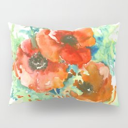 Red Poppies, Red flowers, French Country Style Field Flowers Pillow Sham