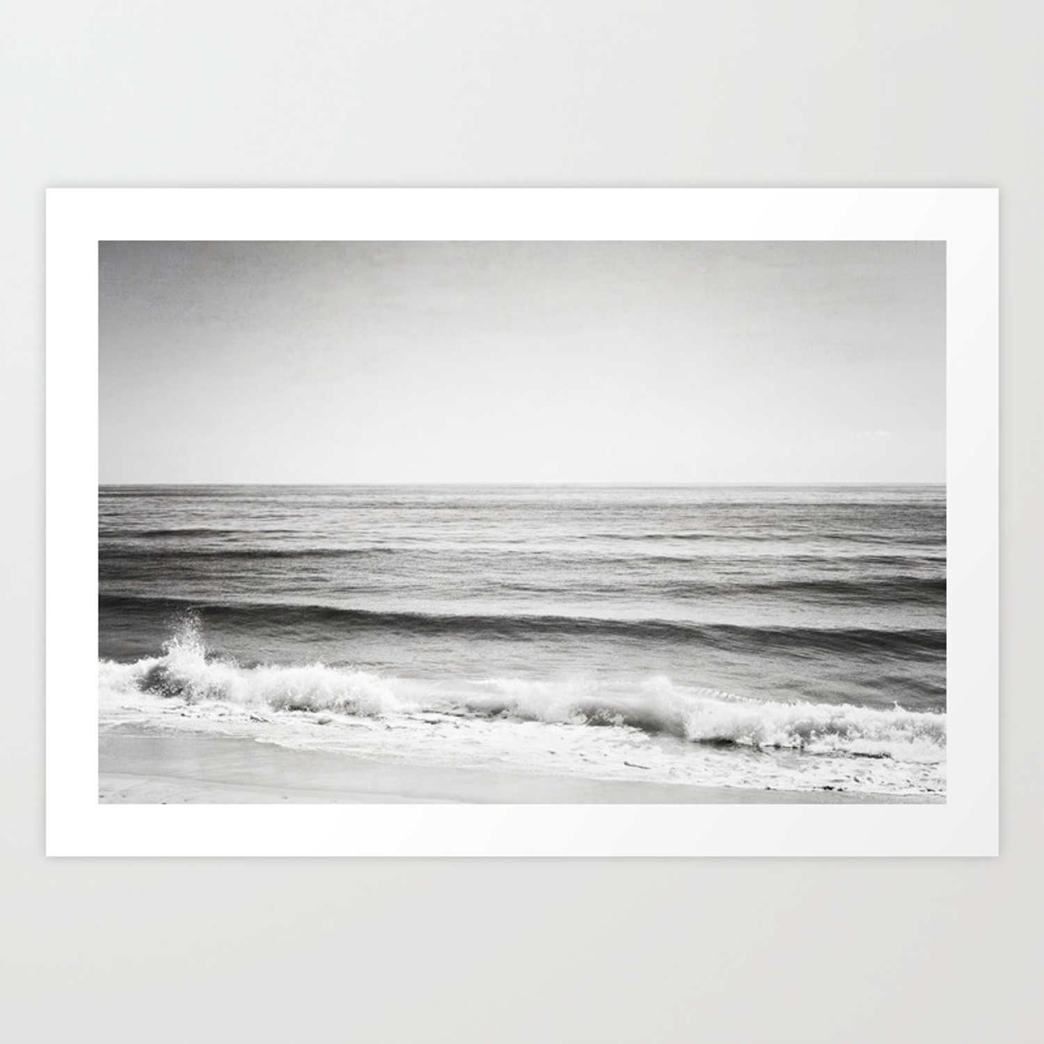 Black and white ocean photography grey neutral seascape photo gray sea waves coastal picture art print