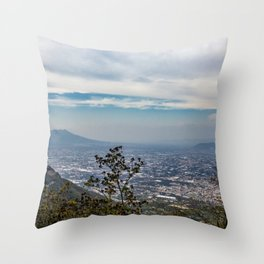 View of the valley from the Regional Park of Monti Lattari, Pompeii and Mount Vesuvius Throw Pillow