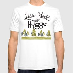 Less stress more Hygge SMALL White Mens Fitted Tee