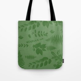 Green eaves on green background Tote Bag