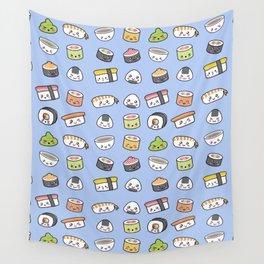Happy kawaii sushi pattern Wall Tapestry