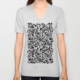 Terrazzo Spot 2 Black on White Unisex V-Neck