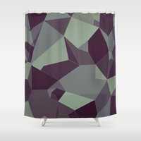 low poly Shower Curtains featuring Low Poly Abstract by Frostwindz