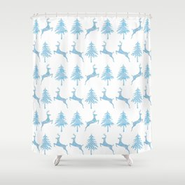 Leaping Deer in a Winter Forest Shower Curtain