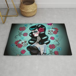 Rockabilly Raven Sugar Skull Girl Rug