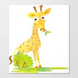 Baby Animal Watercolor Giraffe Adorable Nursery Canvas Print