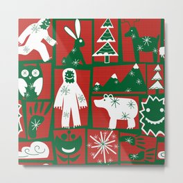Yeti with forest friends blocks in Red Green Holiday Metal Print